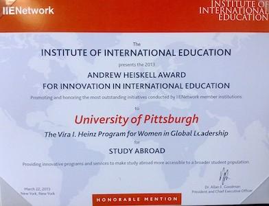 IIE Heiskell Award, Honorable Mention, 2013